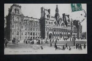 Tarjeta-Postal-Antigua-Animada-1908-Paris-HOTEL-Ayuntamiento