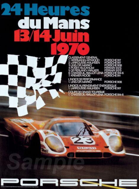 Vintage 1970 Porsche Le Mans Motor Racing Poster  A3 Print