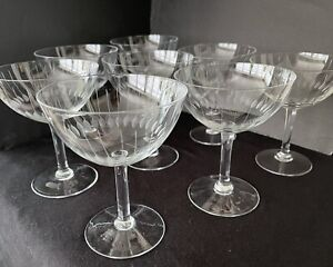 Vintage Set ~ 8 Mid-Century Etched Lines Champagne/Sherbet Crystal Coupe Glasses