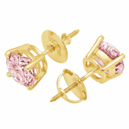 Details about  /4 ct Round Cut Classic Studs Pink Stone Real 18K Yellow Gold Earrings Screw back