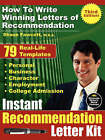 Instant Recommendation Letter Kit: How to Write Winning Letters of Recommendation by Shaun Fawcett (Paperback, 2008)