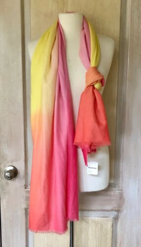 NWT Free People Scarf Ombre Rainbow Wool Cashmere pink yellow coral 28 x 76 $128