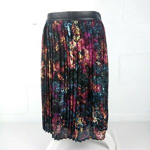 Mossimo-Knee-Length-Lined-Pleated-Skirt-Women-Size-8-Floral-Print