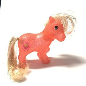 Vintage-My-Little-Pony-G1-SUNSPOT-Sparkle-ponies-1984-Orange-Hair-Glitter