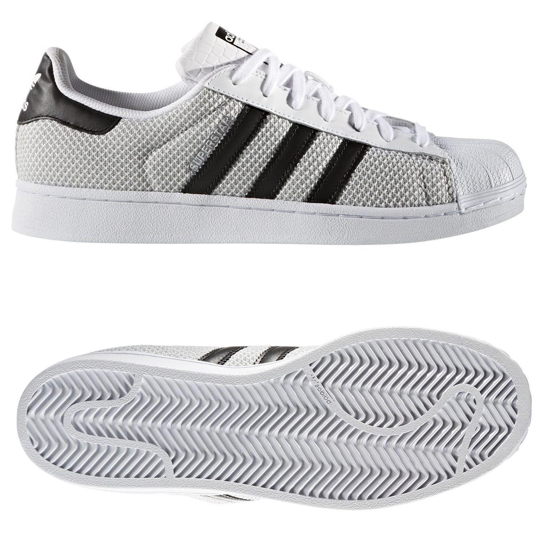 Adidas ORIGINALS para hombre SUPERSTAR Zapatillas blancoo Reino Unido 4 5 9 Tejido Shell Top zapatos