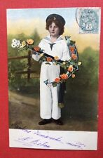 CPA. 1904. Petit Garçon. Costume Marin. Ancré Fleurie.