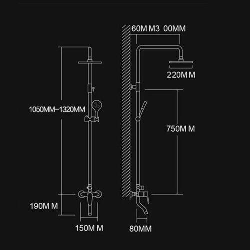 """8/"""" Rainfall Wall Mount Chrome Shower Faucet Set Hand Shower Filler Mixer Tap"""