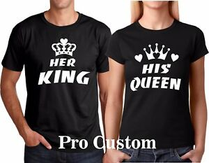 3b98ca8ac97 HER KING HIS QUEEN WHITE DESIGN Couple matching funny cute T-Shirts ...