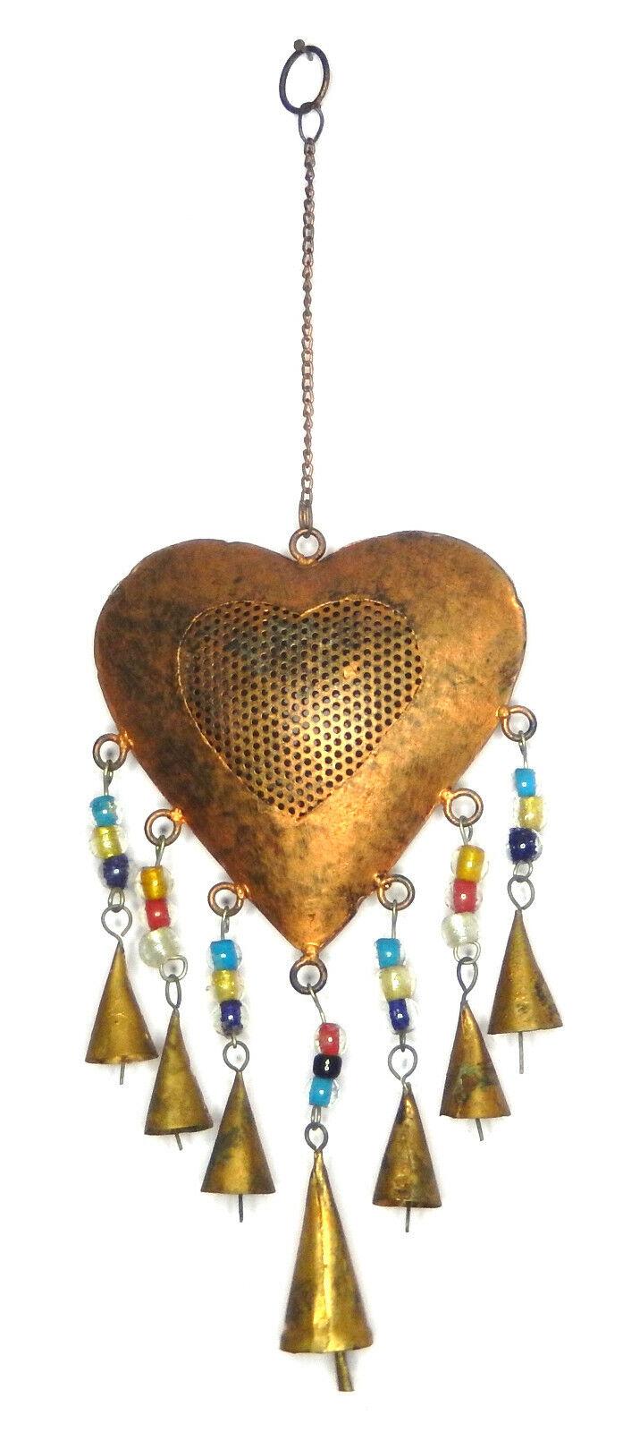 Heart Shape Bell Wind Chime Metal Door Knocker Garden Wall Decor Hanging Bell A6
