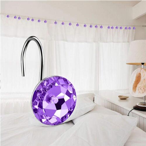 12pcs Shower Curtain Hooks Set Decorative Crystal Rhinestones Hook For Bathroom