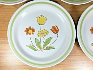 Vintage-Country-Casual-Floral-Stoneware-Plate-8-Set-Japan-Beige-Green