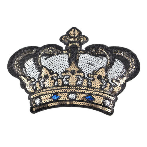 Sequin Crown Sticker Embroidery Patch Iron On Applique DIY Clothing Craft Decor