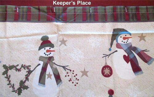 Avanti Linens Country Snowman Pip Berries Hearts Trees Fabric Shower Curtain New