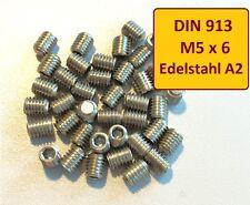 DIN EN ISO 4026  M5x6 A2 Edelstahl Stiftschraube Madenschraube  25 Stück