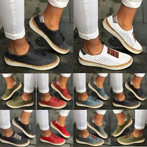 Damen-Halbschuhe-Loafers-Flache-Mokassin-Sneaker-Slip-On-Slippers-Schlupf-Schuhe