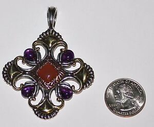 HUGE-Sterling-Silver-Brass-Copper-Medallion-Pendant-30-9-g-Signed-CP