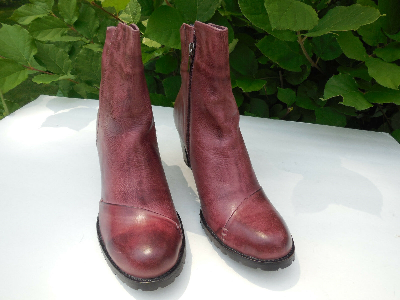 AN*TELOPE WOMENS 725 WINE DESTRESSED LEATHER ANKLE BOOT ZIP HEELS SIZE 41