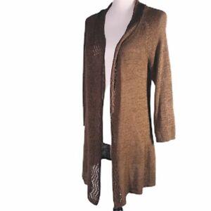 Dressbarn-Women-039-s-Cardigan-Sweater-Open-Front-Brown-Open-Knit-Size-M-Long-Sleeve