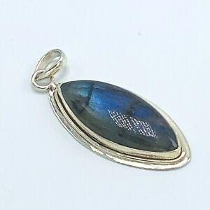 "Labradorite Sterling Silver 2"" Pendant Large Oblong Stone"