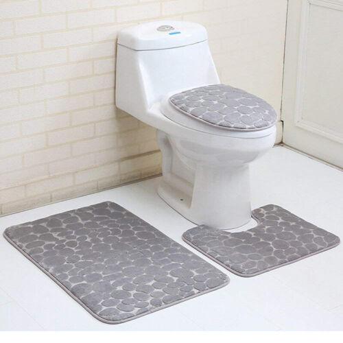 3Pc Bathroom Non-Slip Carpet Set Pedestal Rug+Lid Toilet Seat Cover+Bath Mat Pad