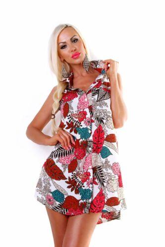 4538 Damen Bluse Hemdbluse Minikleid Blusenkleid Ärmellos Vokuhila Blumen
