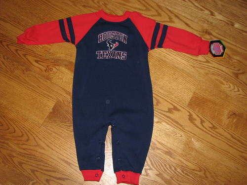 NEW Houston Texans Baby Fleece Romper Size 18M 18 Mo Boys Girls Coverall Sleeper