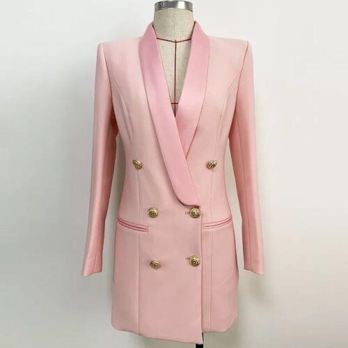 Boutonnage Double Rose Blazer Mini robe avec boutons dorés long elegant veste