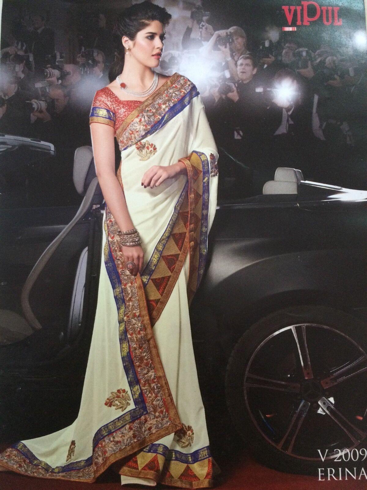 A7 Bollywood Indian Pakistani Designer Fancy Saree Off White White White Ladies Party Sari 93f4ea