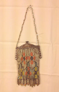 Bags, Handbags & Cases Great Art Deco Mesh Purse With Geometrics And Enamel Detail Signed Whiting Davis