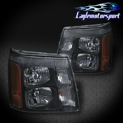 2003 04  05 2006 Cadillac Escalade Factory Black  L+R  Headlights Pair