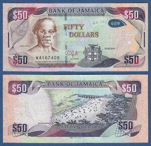 New Lustrous Surface Jamaica 50 Dollars 2017 Hybrid Unc P Discreet Jamaika