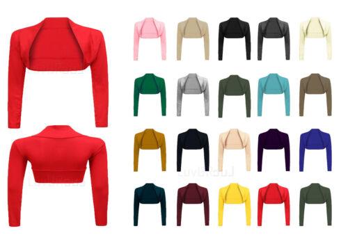 Femme nouveau plain shrug top pour femme en mailles à manches longues cropped cardigan taille 8-26