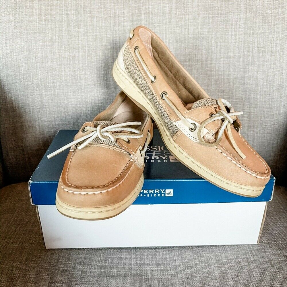 NIB Sperry Top Sider Angelfish Linen/ Oat Boat Shoes - 11