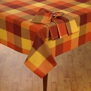 Harvest Thanksgiving Fall Tablecloth Shimmer Check Cotton