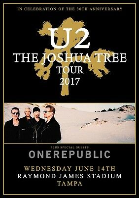 U2 Joshua Tree Tour: Tampa Raymond James Stadium June 2017 PHOTO Print POSTER 38
