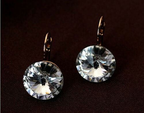 f7b184f31 11 of 12 Large 15 MM Round Bella Earrings Clear Swarovski Crystal Rose Gold  Plated Bezel