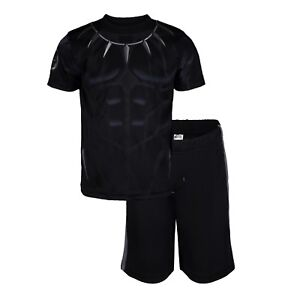 Marvel-Avengers-Black-Panther-amp-Hulk-Boys-039-Athletic-T-Shirt-amp-Mesh-Shorts-Set