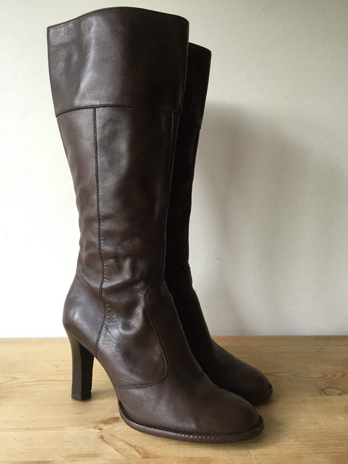 ALDO LADIES BROWN LEATHER KNEE HIGH BOOTS UK7