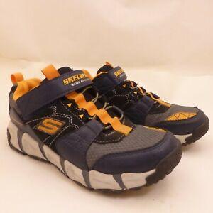 Boys Size 5 SKECHERS Water Repellent Memory Foam Sneakers Blue Black Orange