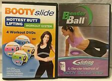 2 workout exercise fitness DVD lot, Booty Slide Bender ball butt lifting gliding