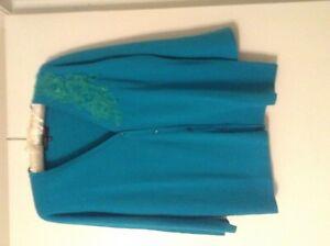 JonesNew York sweater blue embellished flowers size Large never worn