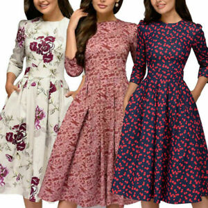 Autumn-Spring-Vintage-Women-Retro-Tunic-Long-Sleeved-Print-Floral-A-Line-Dresses