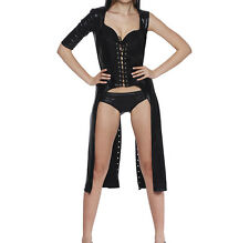 Women PVC Look Black Gothic Lingerie Bandage Long Dress & Pants Dance Clubwear