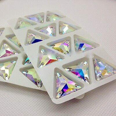 Triangle Shape Sew On Glass AB Color 3 holes Crystal Rhinestone Silver Flatback