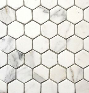 Image Is Loading Calacatta Gold 2 034 Hexagon Marble Mosaic Wall