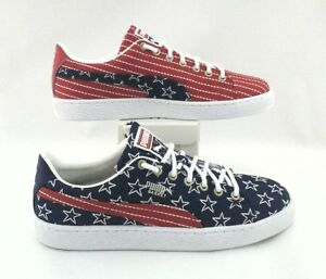 PUMA BASKET USA Stars Stripes Shoes RedBlue EMBROIDERED