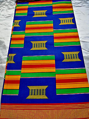 African Kente Print Fabric Ethnic Ghanian Wax Bold Bright /& Colourful Per Yard