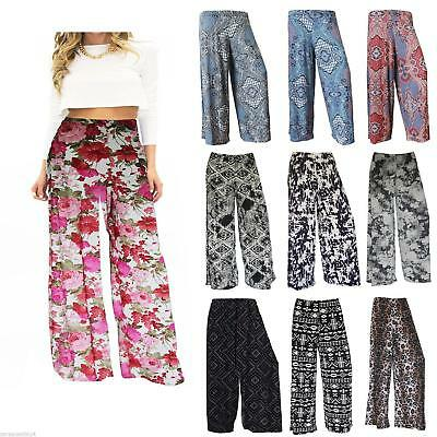 Womens Ladies Floral Print Palazzo Trousers Wide Leg Elastic Waist Size 8 10