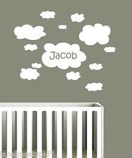 Medium Cloud Wall Stickers With Custom Name Nursery Baby Personalised Clouds