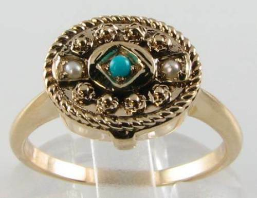 9CT GOLD VICTORIAN TURQUOISE PEARL OVAL BOX LOCKET RING